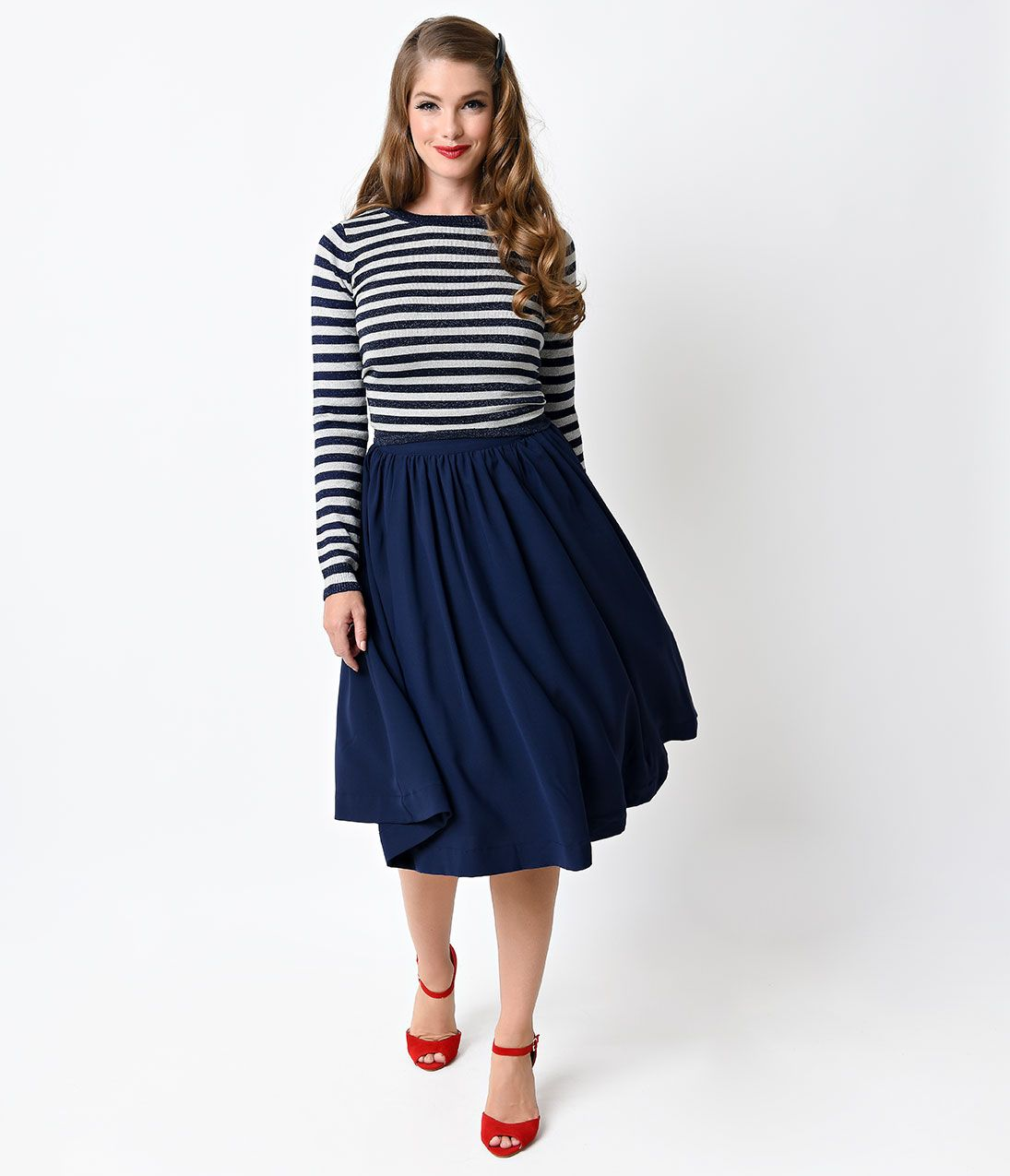 1950s Style Navy Blue Woven High Waist Swing Skirt $42.00 AT vintagedancer.com