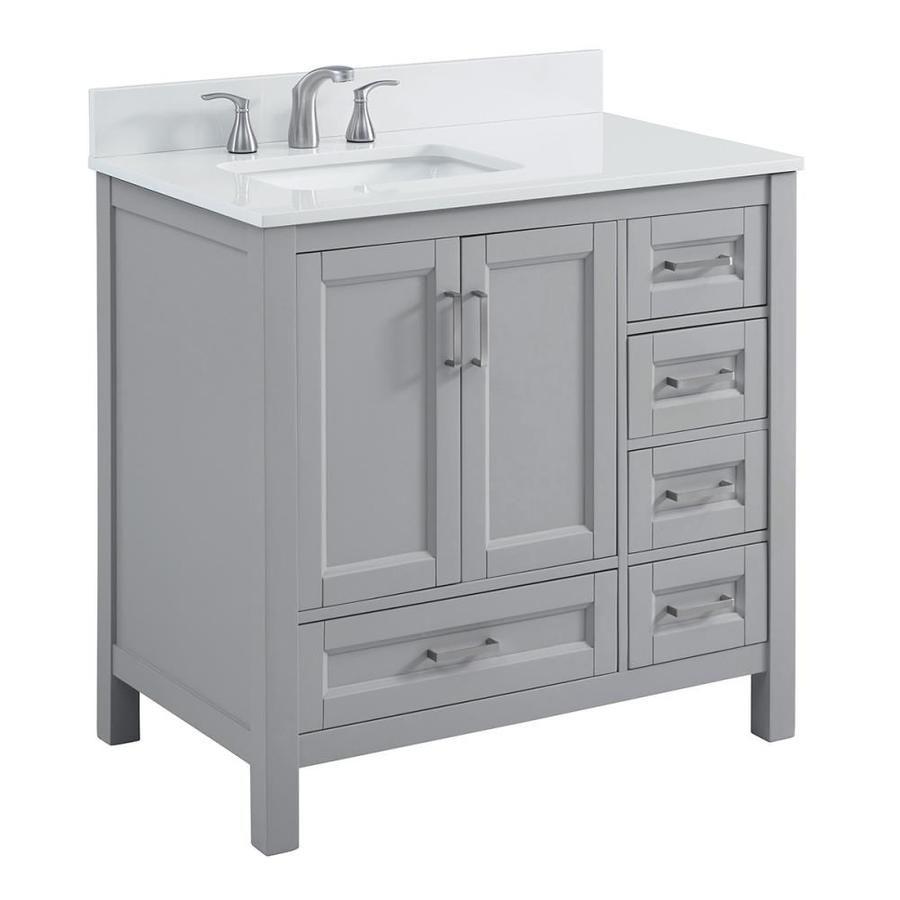 Durham 36 In Light Gray Undermount Single Sink Bathroom Vanity With White Engineered Stone Top Lowes Com Single Sink Bathroom Vanity Bathroom Sink Vanity Bathroom Vanity Designs