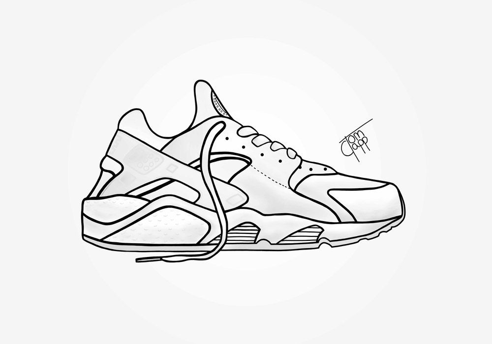 Digital drawing of the Platinum White Huarache, printed onto a high quality  canvas. Also