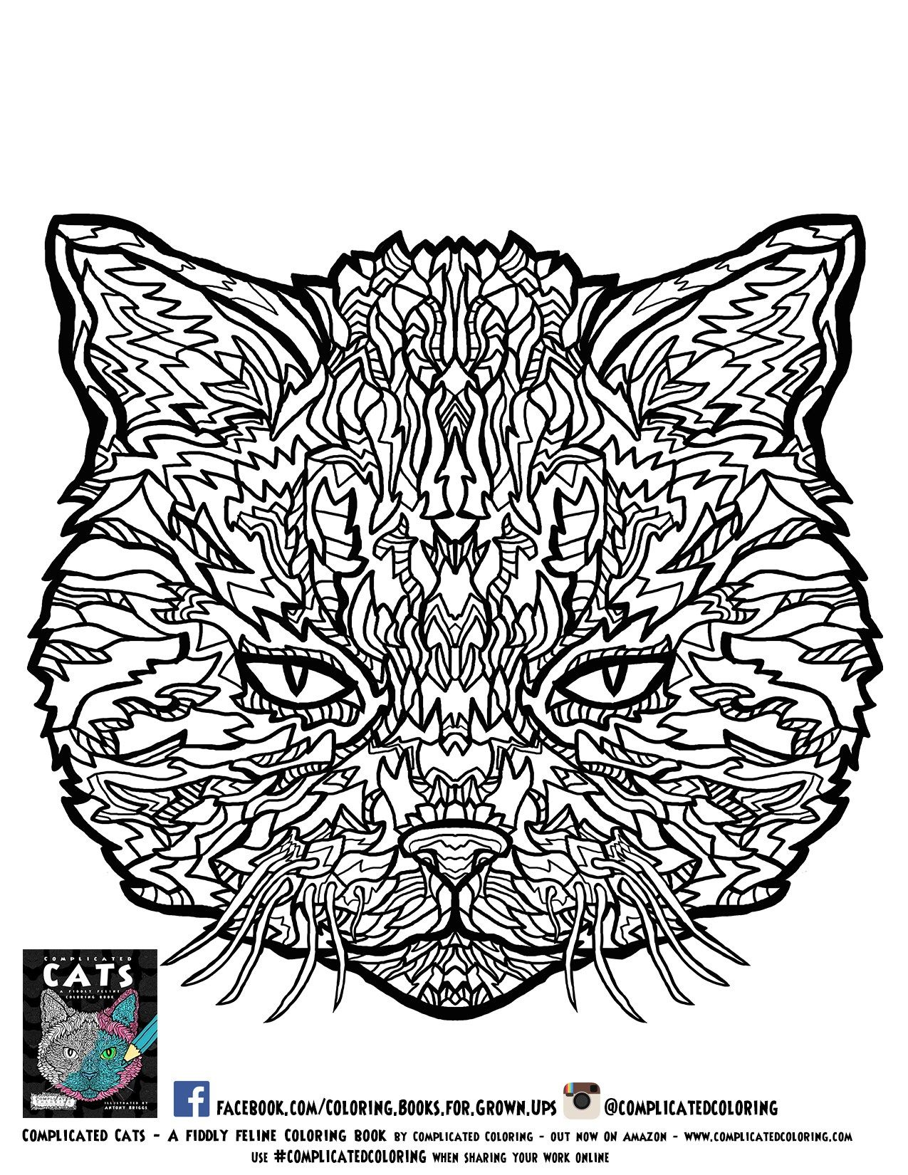 Free Printable Adult Coloring pages from Complicated Cats | Wire ...