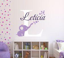 Custom name bubbles elephant wall decal art decor vinyl pinterest nursery room decals and also rh