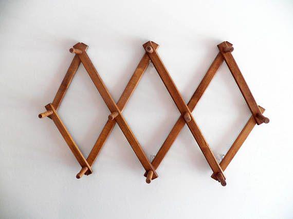 Delightful Vintage Wood Hat Rack Accordion Long Peg Folding Coat Rack Photo Gallery