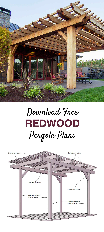 Free Redwood Pergola Plans Pergola Plans Pergola Outdoor