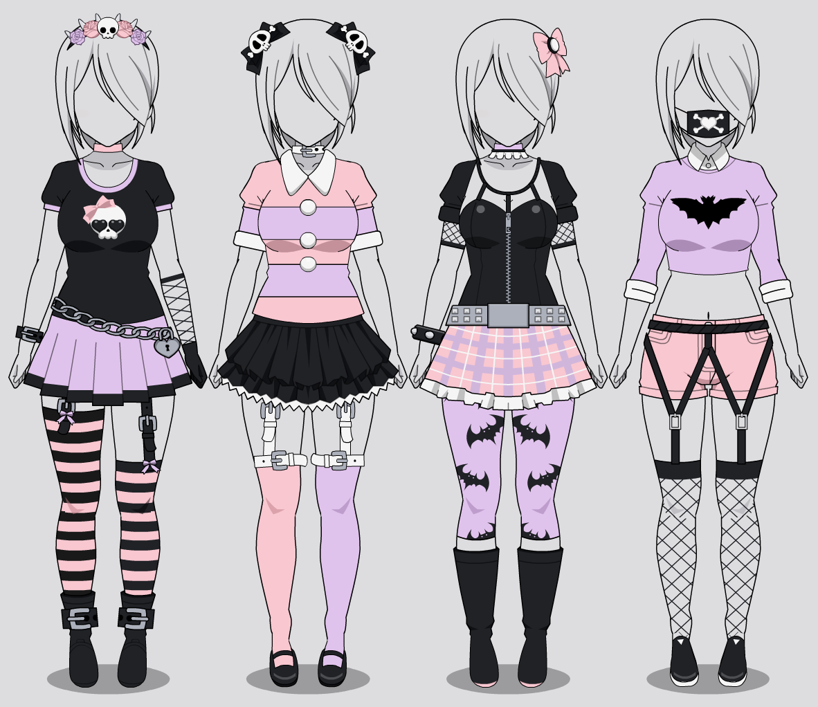Kisekae four pastel goth outfits w codes by rainbowfan256 on