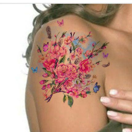 Temporary tattoo vintage watercolor flower ultra thin for Floral temporary tattoos