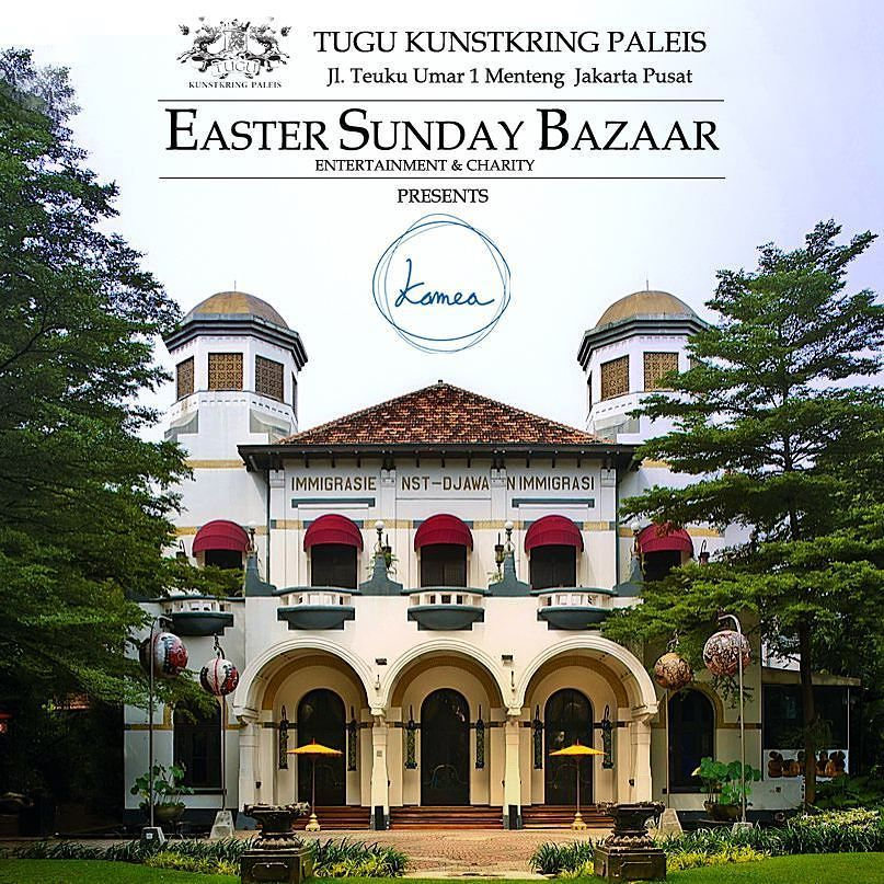 EASTER SUNDAY BAZAAR is back at Tugu Kunstkring Paleis this April  Please save the date on your calendar Sunday 3rd April starting9AM:Enjoy bazaar of curetted items on the Second Floor and browse unique pieces of ladies lingerie room fragrance spa and massage fashion and jewelry home decorations and our very own tarot cards fortune teller Dutch photo costume with 40 vendors! Shop til you drop.  Lots of food vendors organic foods wine champagne to enjoy Sunday chill out at Kunstkrings…
