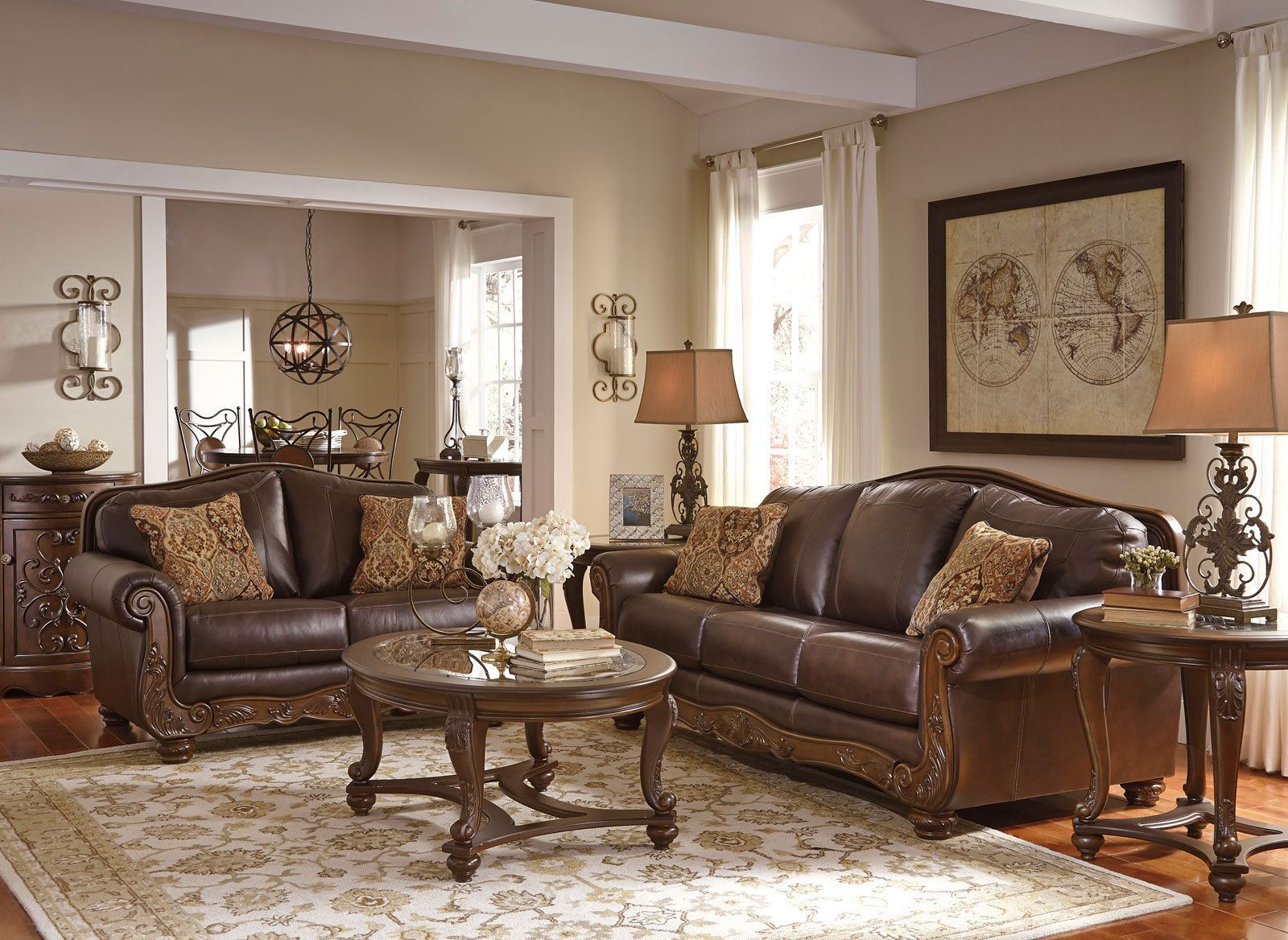 ROMANO - Traditional Brown Real Leather Sofa Couch Set Living Room