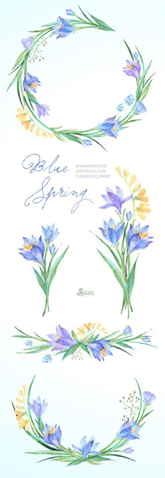 Blue Spring Watercolour Flowers Clipart Handpainted Watercolor