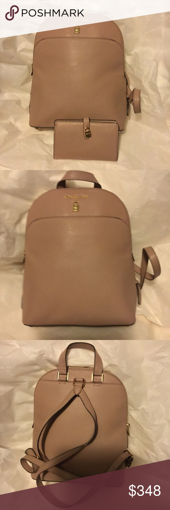 01c1ccfa3c03 MK Adele Fawn LG Leather Backpack bifold Wallet MSRP: $368.00 Bag $148.00  Wallet Top zip