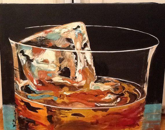 Original Acrylic Painting On The Rocks Bar Decor By Vintagebyviola Painting Glass Painting Bar Artwork