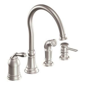 Moen Lindley Single Handle Side Sprayer Kitchen Faucet In Spot