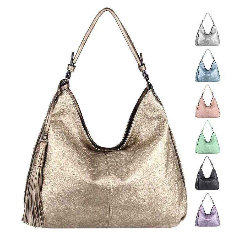 Photo of [Werbung] DAMEN METALLIC XXL Shopper HAND-TASCHE Schultertasche Leder Optik Hobo…