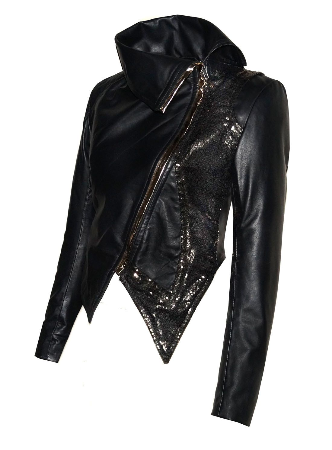 Hand Made Women Leather Asymmetrical Soft Leather Jacket With High Neck Collars Sequence Designer Front Leather Women Leather Jackets Women Leather Jacket [ 1490 x 1100 Pixel ]