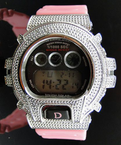 Genuine-Diamond-Pink-D-Shock-Watch-By-Aqua-Master-With-White-Gold-Finish-12CT