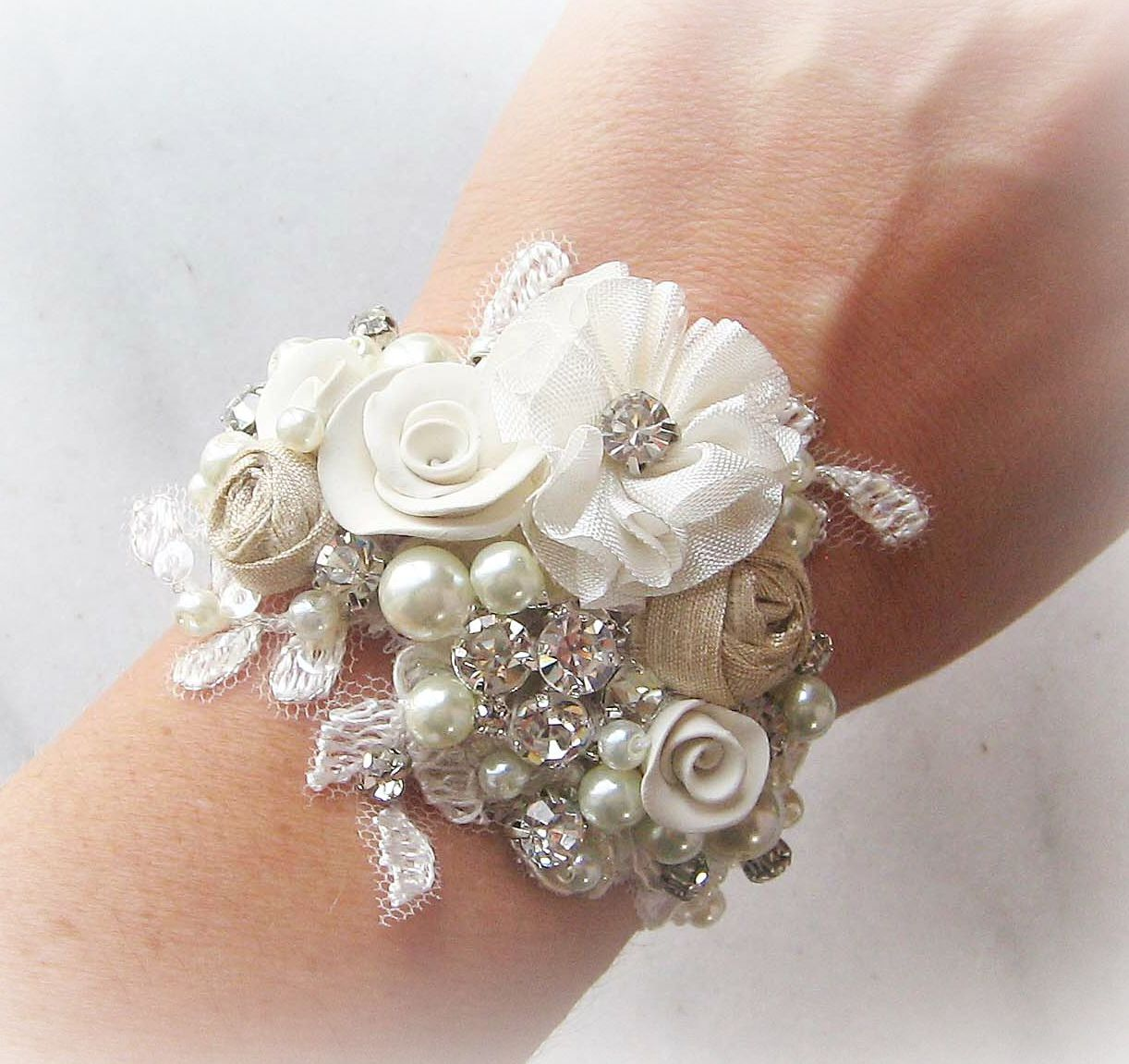 Vintage Style Bridal Cuff Wrist Corsage Bracelet Custom Rustic Wedding Rhinestone Pearl Promise