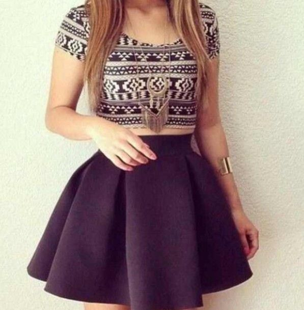 Shirt | Skirts, Blanco y negro and Aztec crop tops