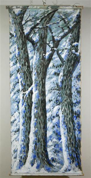 winterwald zimmer tapezierte wand mit bild paper theatre pinterest tapezieren papier. Black Bedroom Furniture Sets. Home Design Ideas