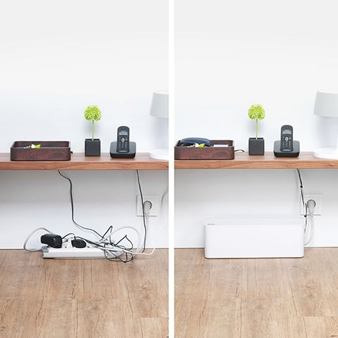 White Large Cable Box Cable Management Cable Management Diy Small Computer Desk Home Office Space