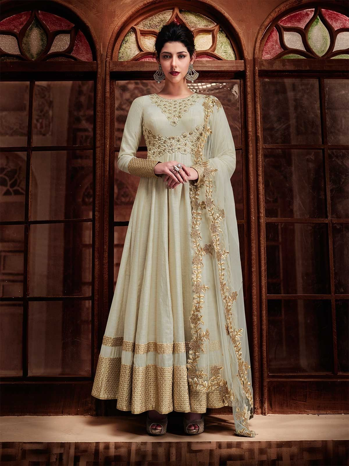 910556b8d0 Buy floral embroidery off white anarkali suit online at best price with  matching bottom and dupatta. Explore bollywood anarkali dress collection  with more ...