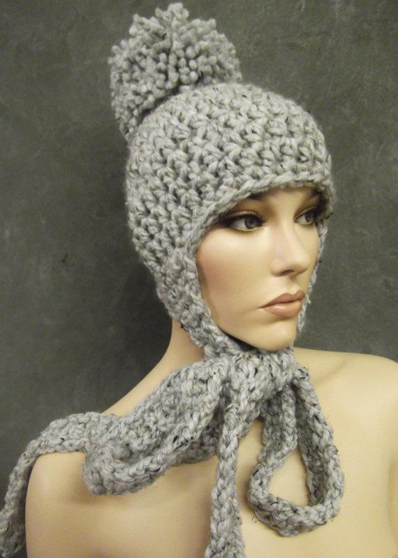 edf75966be23e2 The Patapouf Hat in Slate, Winter Hat, Pom Pom Hat, Accessories, Hats,  Skull Cap,Women, Crochet Hat,