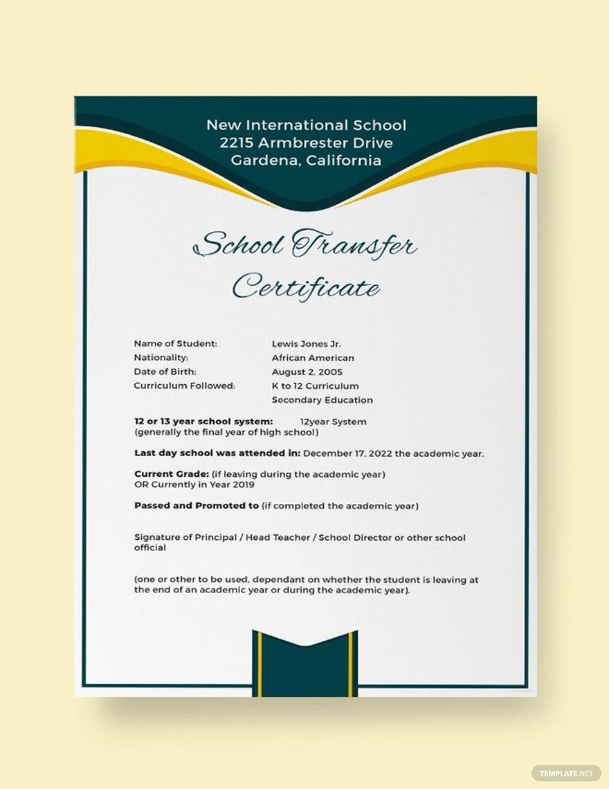 Free School Transfer Certificate Certificate Templates School