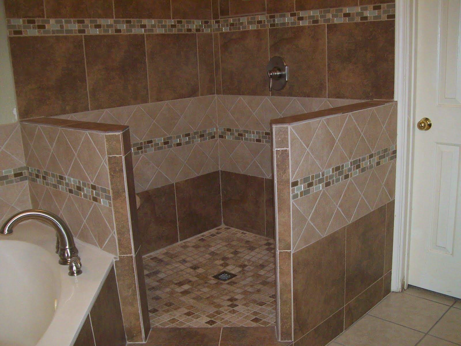 Corner Tile Walk In Shower Expanded Shower Both