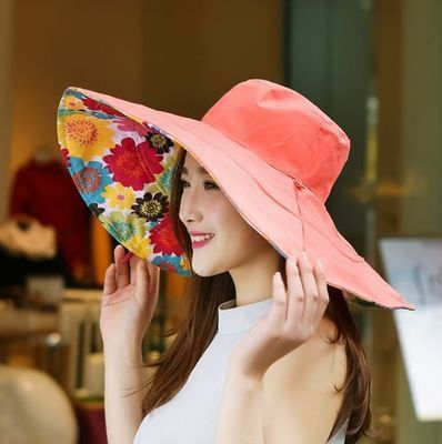 deebc33d426 2016 Summer large brim beach sun hats for women UV protection women caps hat  with big head foldable style fashion lady s sun hat