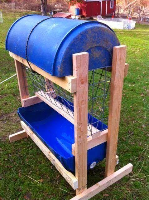 Michelle S Little Piece Of Heaven 30 Dollar Diy Animal Feeder Goat Hay Feeder Goat Barn Goat Playground