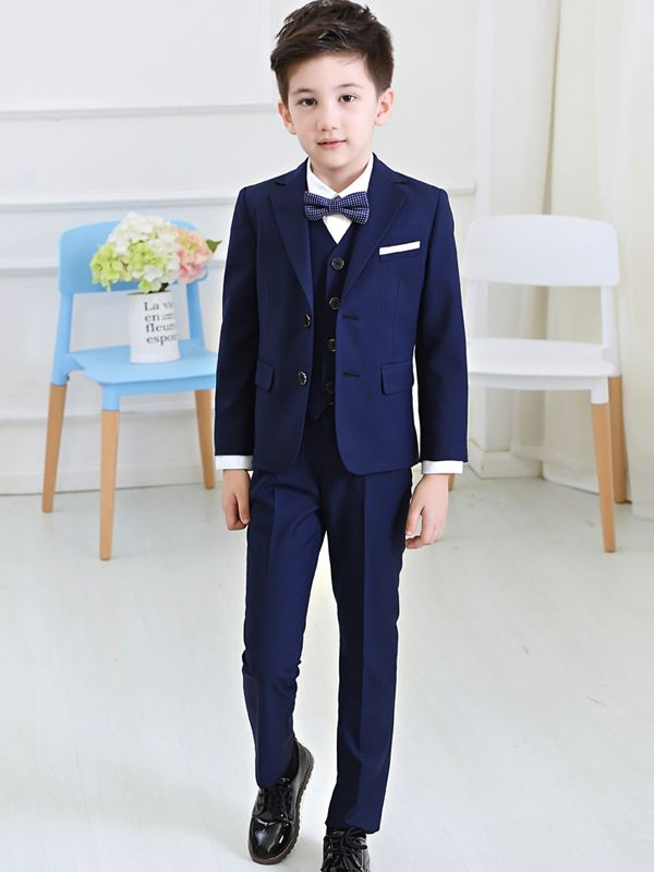 Pants Suits Formal Dress Party Wedding  Set Jacket Kids 3Piece Boys Waistcoat