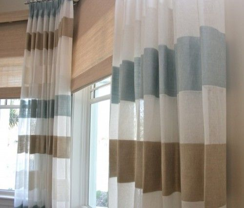 Linen Stripe Drapes With Woven Shades By Finishing Touches With