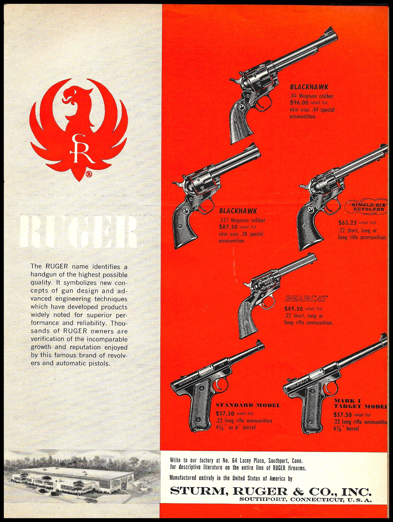 1958 RUGER Blackhawk Revolver & Pistol Line AD : Other Collectibles at GunBroker.com