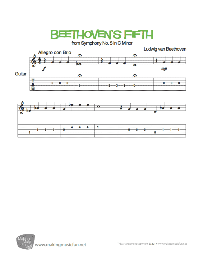 Beethoven S Fifth Symphony No 5 Easy Guitar Sheet Music Tab Easy Guitar Sheet Music Guitar Sheet
