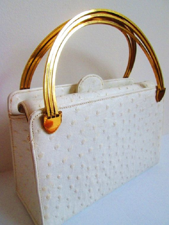 1960s Purse / Vintage 1960s Cream Leather by TulleandTiaraVintage, $45.00