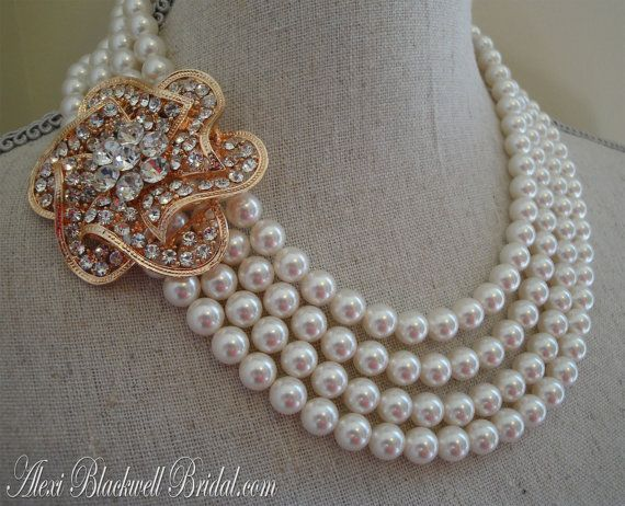 Pearl Wedding Necklace with Rose Gold Brooch Earrings included 4
