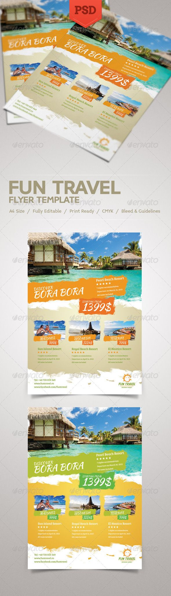 Fun Travel Flyer  Psd Templates Template And Brochures