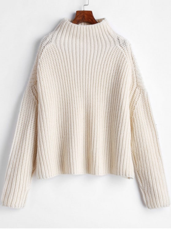 Chunky Knit High Neck Drop Shoulder Boyfriend Sweater MILK
