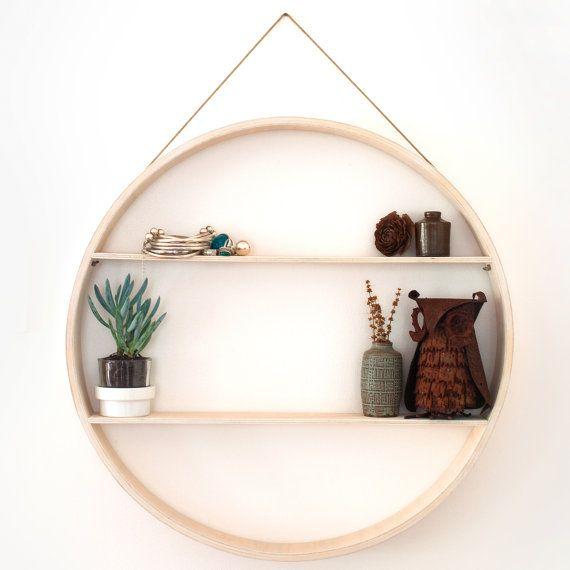 Round Timber Shelf Circular Shadow Box