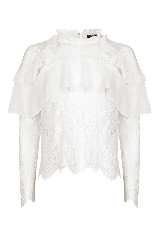 76509e8194f73c Lace Frill Long Sleeve Blouse | Body con midi dress | Fashion ...