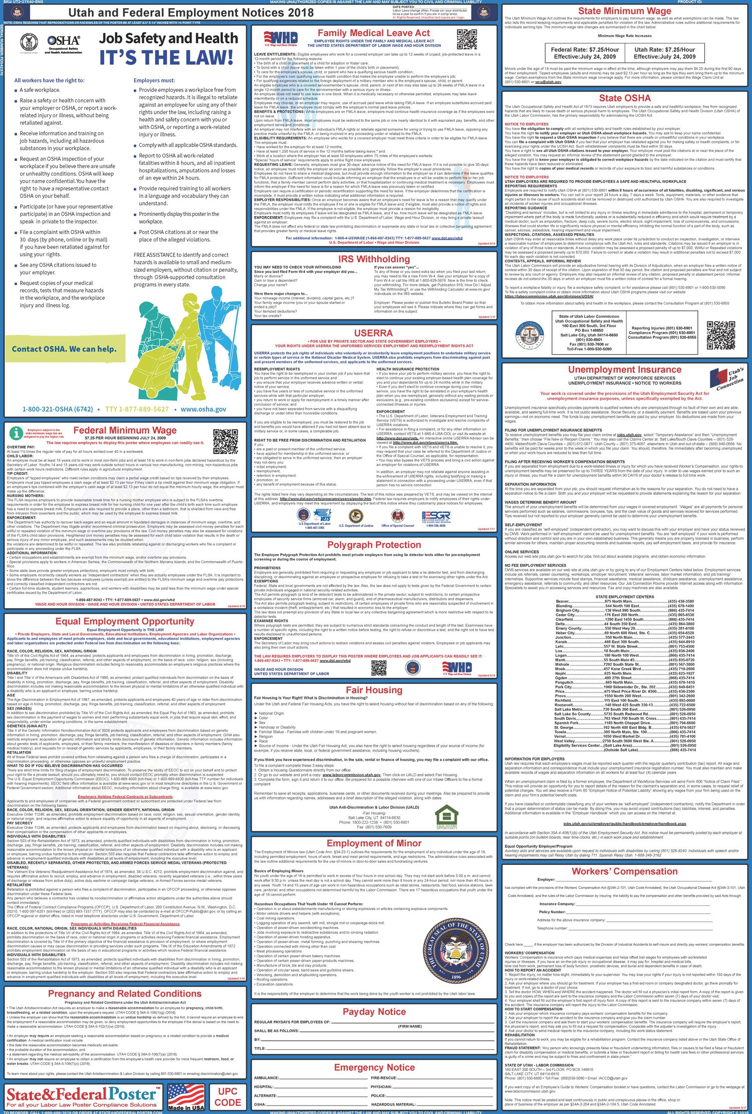 Utah State and Federal Labor Law Poster 20172018 Labor