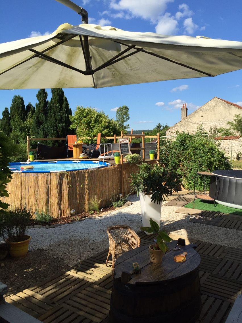 Id e amenagement terrasse piscine hors sol cr ation maison piquet d 39 acacia lame terrasse - Maison hors sol ...