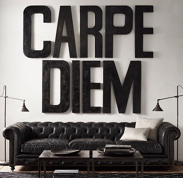 Large Metal Letters For Wall theyallhateus carpe diem large art over chesterfield sofa