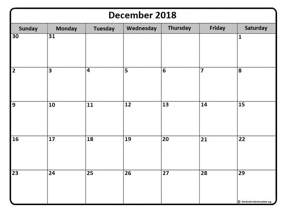 December Calendar Printable December 2018 Monthly Calendar