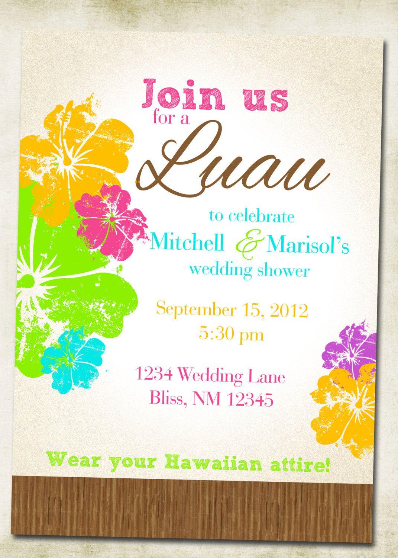Luau Hawaiian Themed Invitation | Pinterest | Hawaiian wedding ...