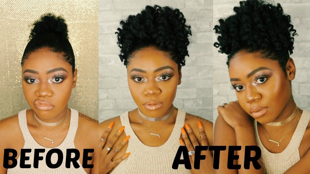 Braidless Crochet Curly Afro Puff On Short Natural 4c Hair Easy Affo