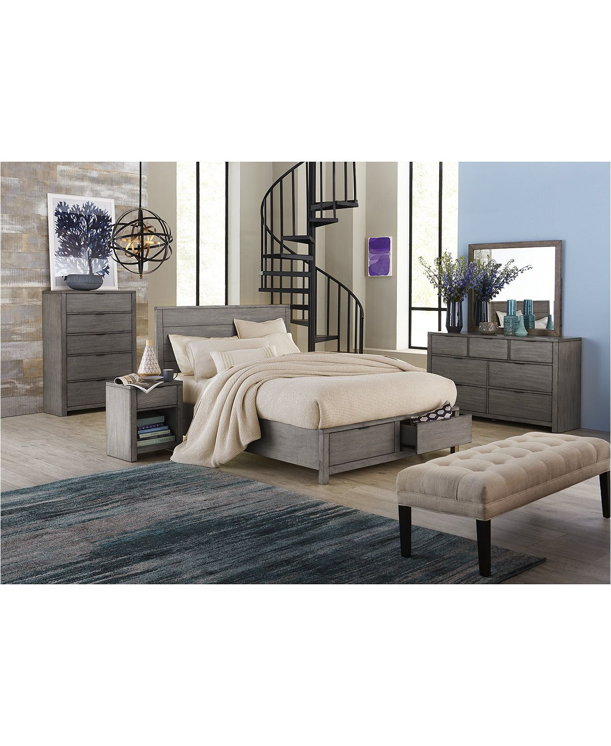 Tribeca Grey Storage Bedroom Furniture, 3-Pc. Set (King Bed, Dresser ...