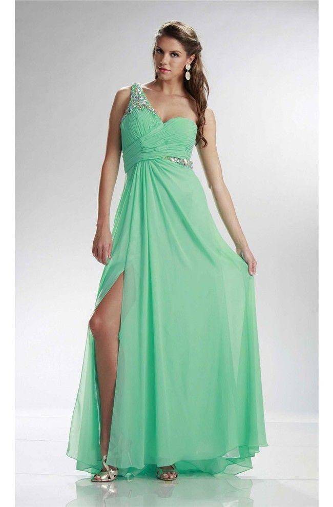 fad2069baa Charming One Shoulder High Slit Long Mint Green Chiffon Prom Dress ...
