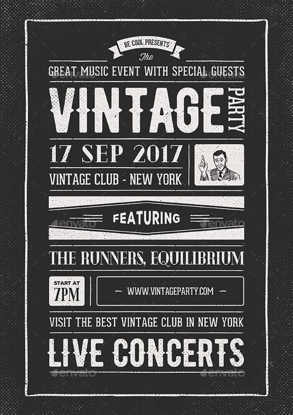 Vintage Flyer/Poster | Flyer template, Template and Vintage