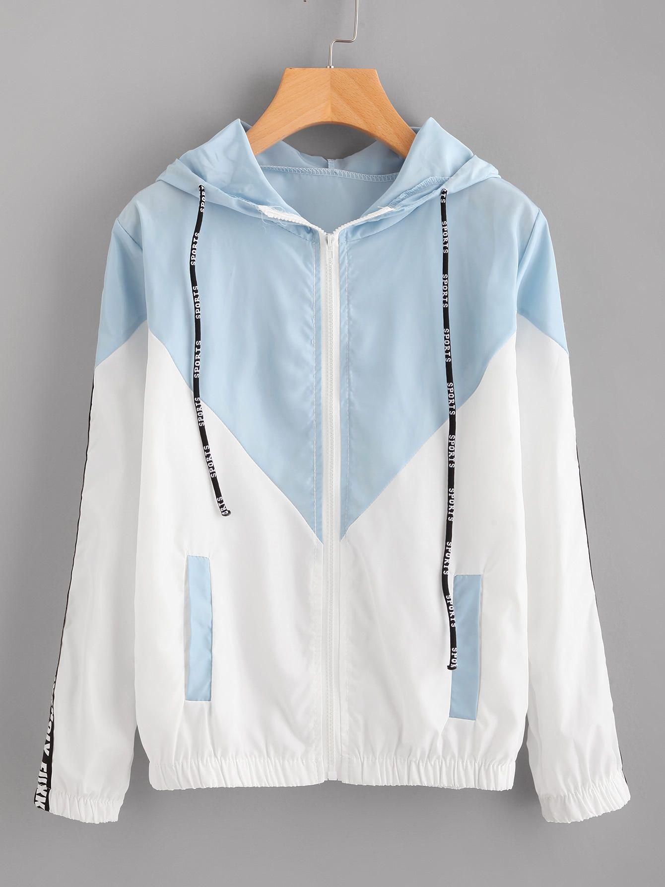 4a537930c7 Shop Hooded Drawstring Color Block Zip Up Jacket online. SheIn offers Hooded  Drawstring Color Block Zip Up Jacket & more to fit your fashionable needs.