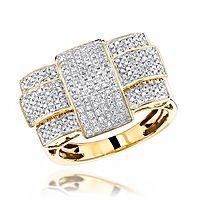 Solid 10K Gold Criss Cross Mens Diamond Ring 1.0 ct