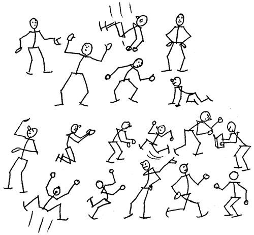 How to draw cartoon people figures moving in different for Body movement drawing